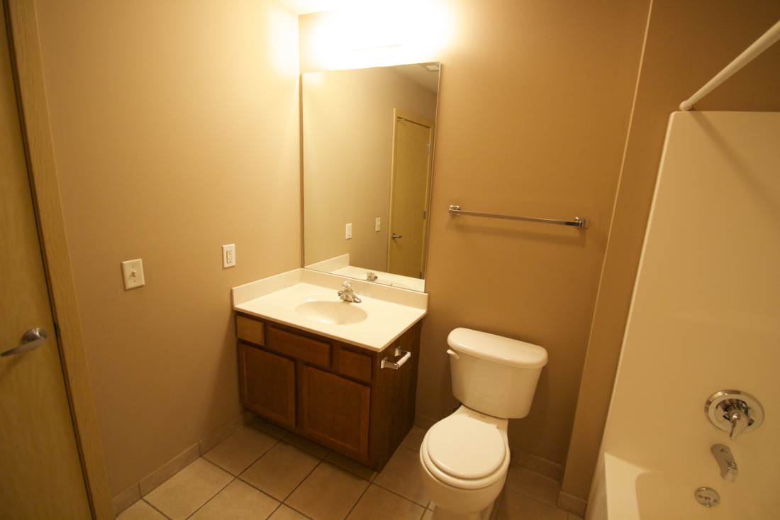 Bathroom at 1892 Apartments in Council Bluffs, IA