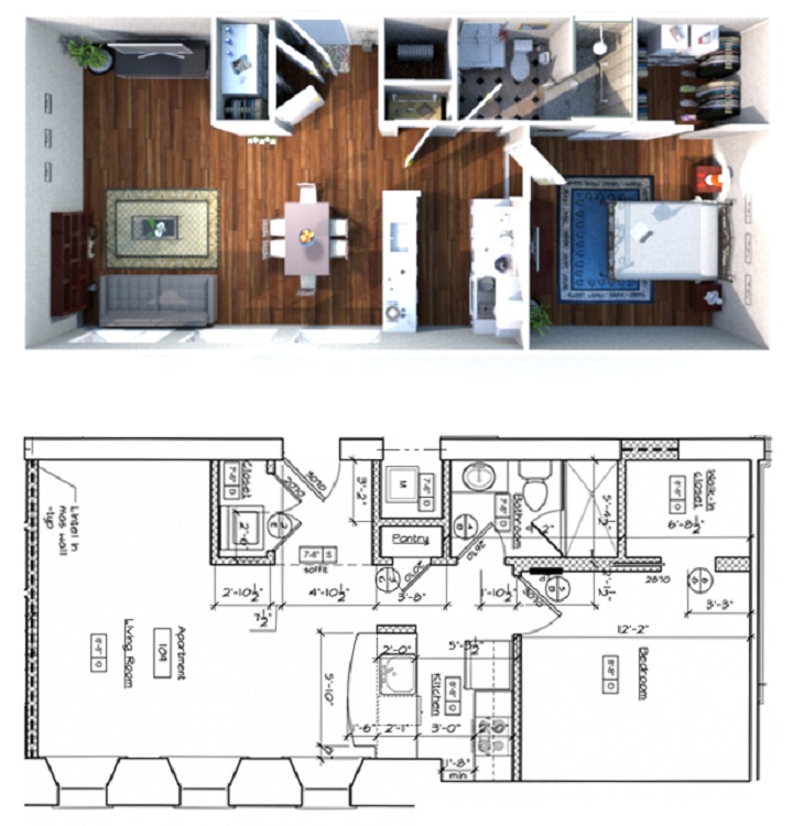 300 Alexander Apartments - Floorplan - 1 Bedroom 1 Bath