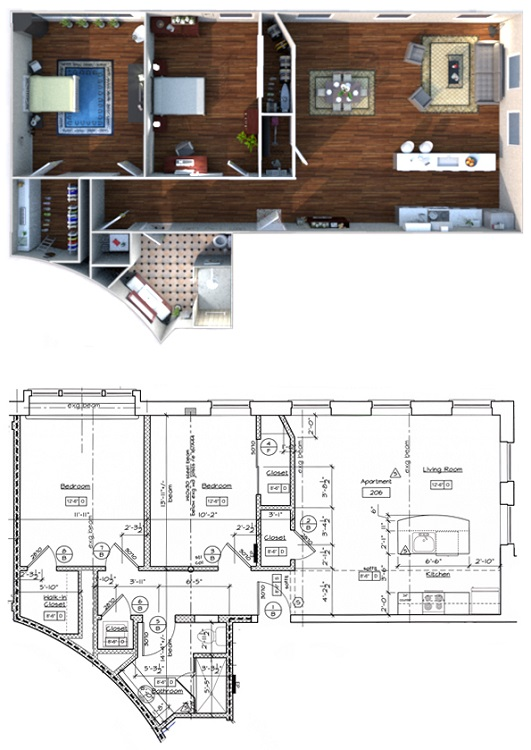 300 Alexander - Floorplan - 2 Bedroom 1 Bath