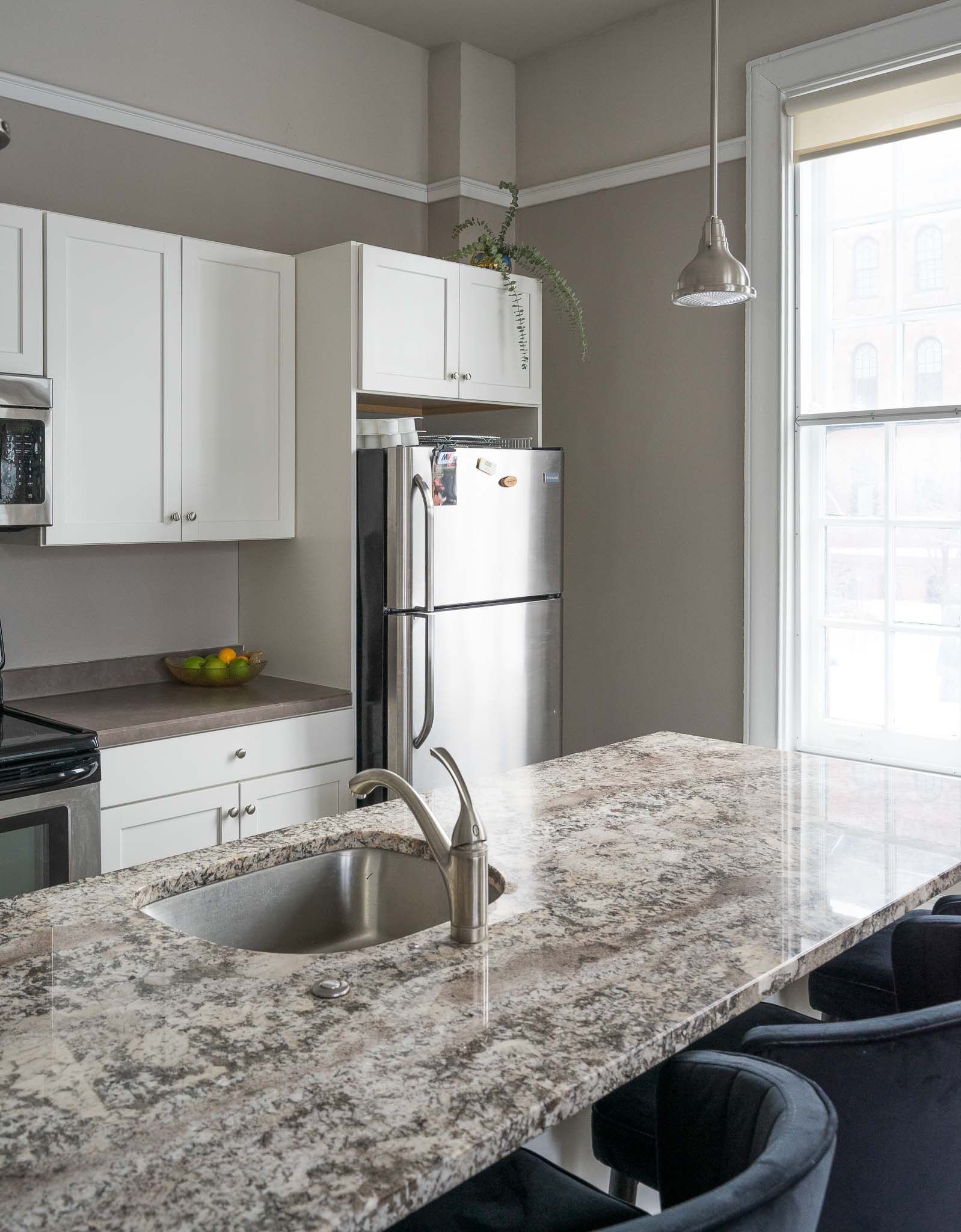 Kitchen at the 300 Alexander Apartments in Rochester, New York