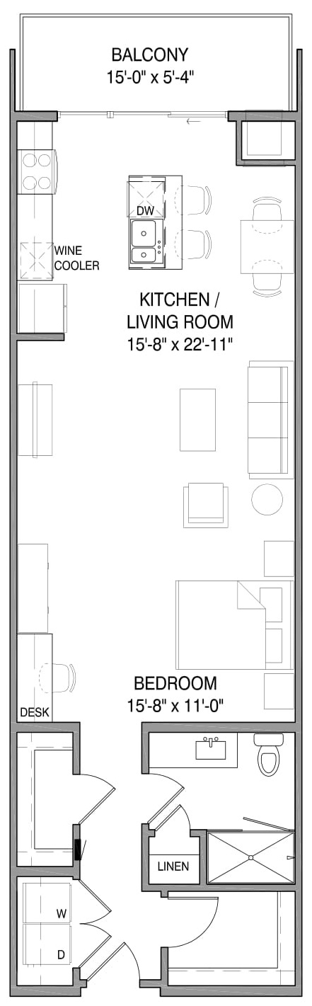 444 Social - Floorplan - Short-Term Furnished Emery Loft