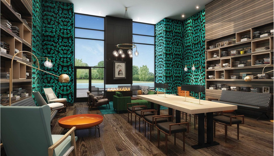 Modern Community Clubhouse at 444 Social Apartments in Lincolnshire, Illinois