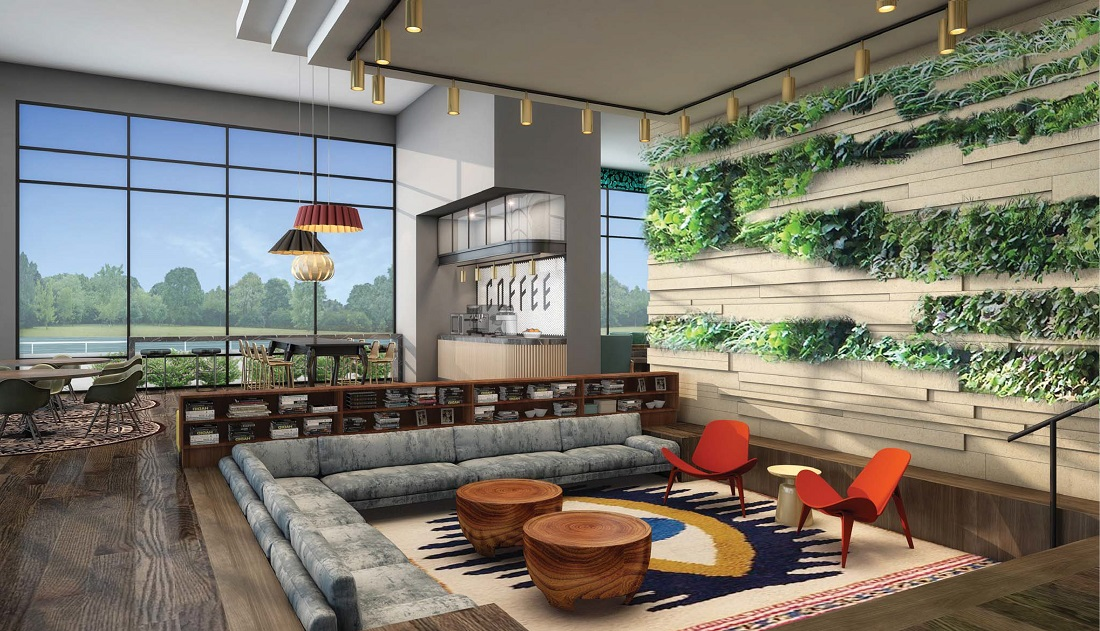 Contemporary Resident Lounge at 444 Social Apartments in Lincolnshire, Illinois