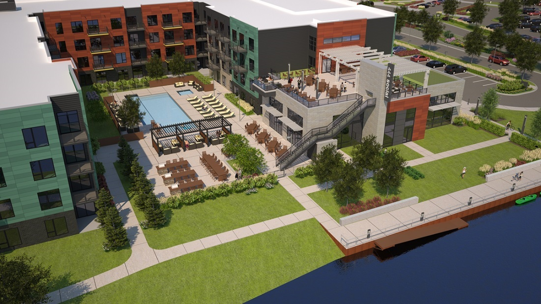 Resort-Style Pool w/ Outdoor Entertainment Area at 444 Social Apartments in Lincolnshire, Illinois