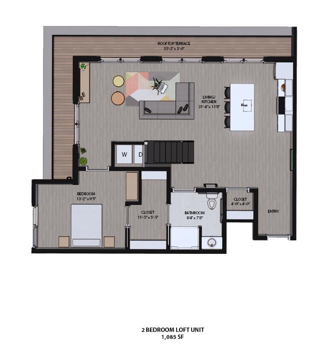 Floorplan - 2 Bedroom Loft Unit w/ Sun Deck & Terrace image