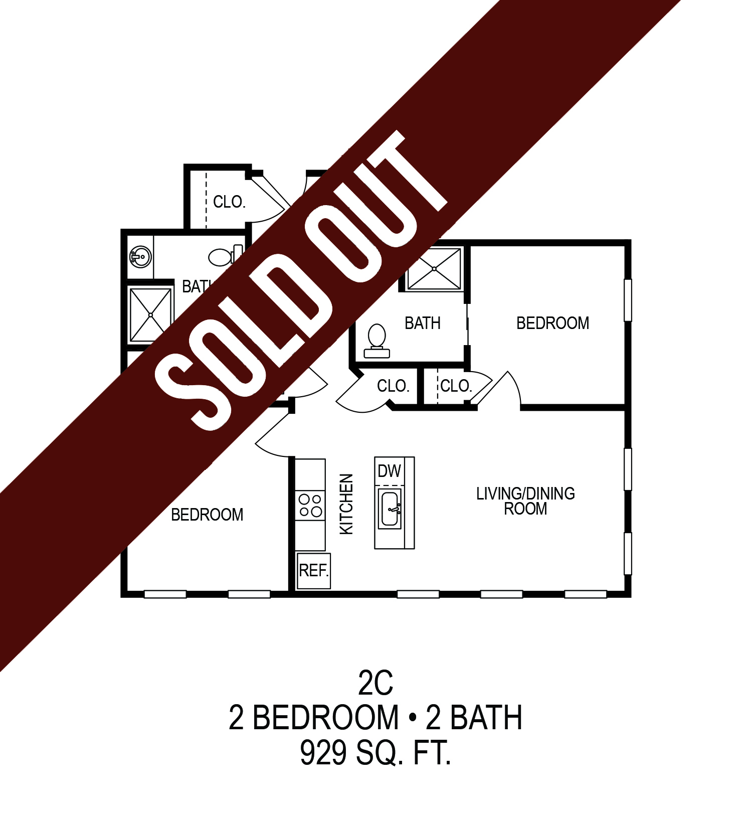 625 S. Goodman Apartments - Floorplan - Two Bedroom (C)*