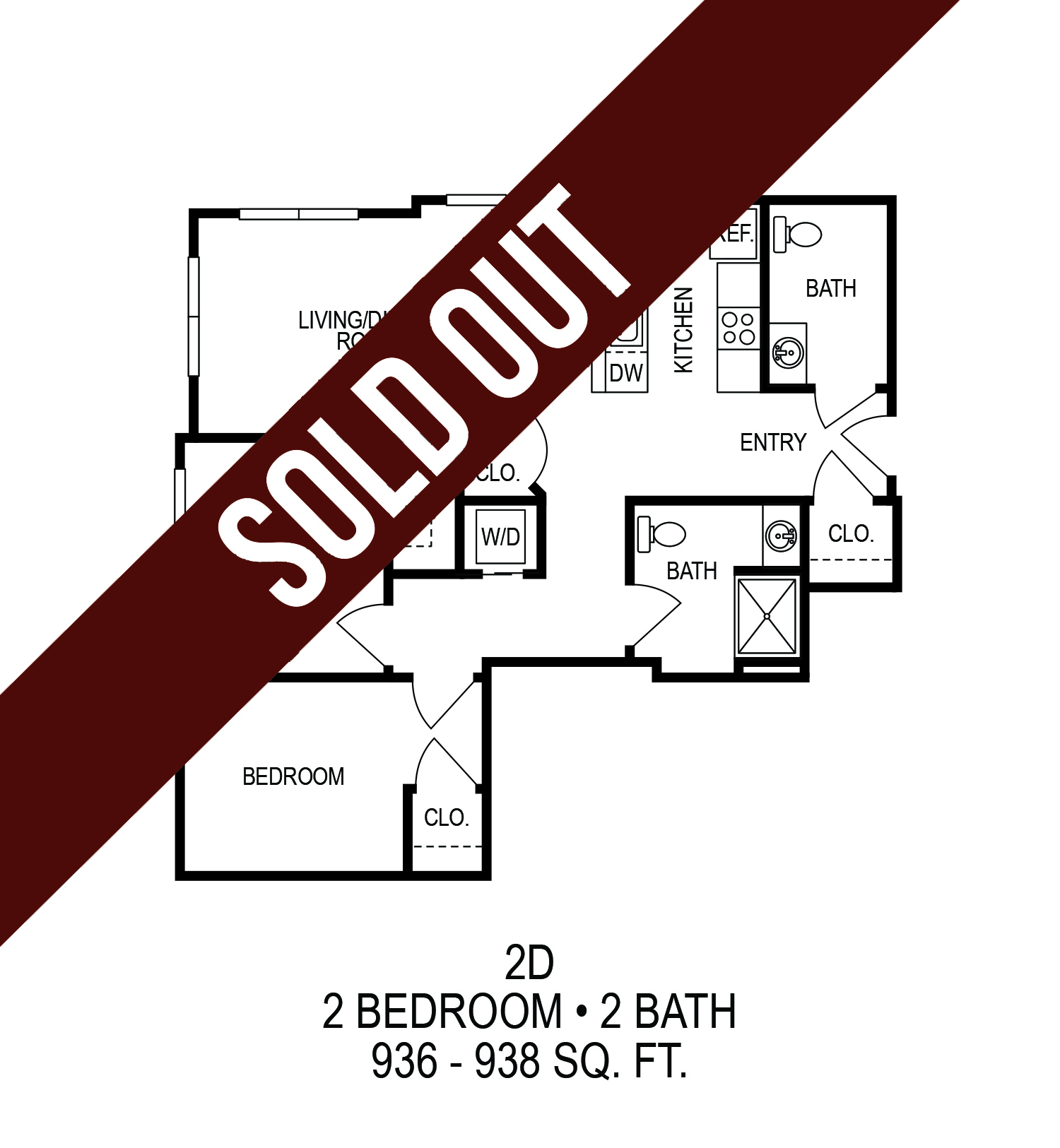 625 S. Goodman Apartments - Floorplan - Two Bedroom (D)*