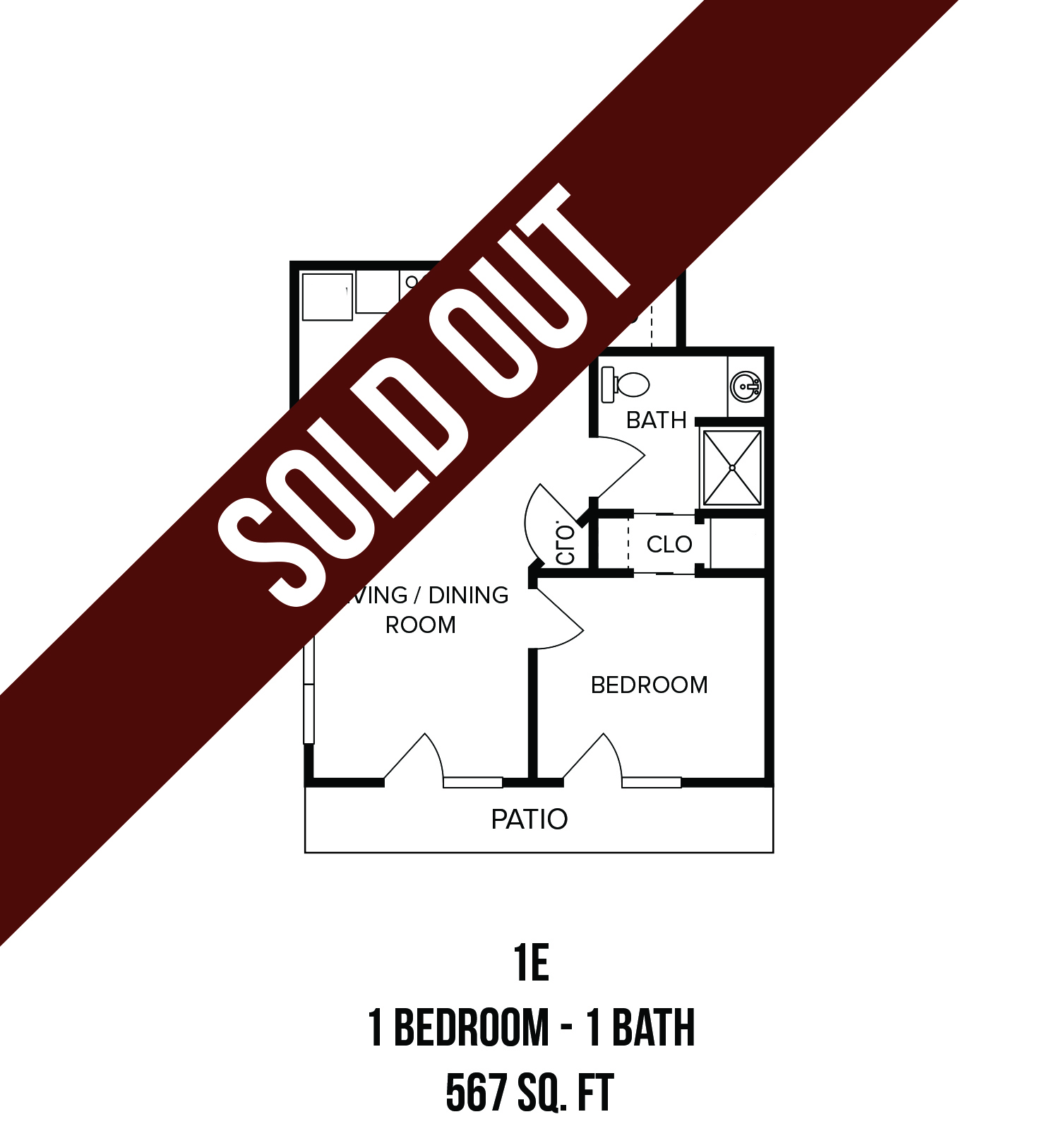 Floorplan - One Bedroom (1E) image