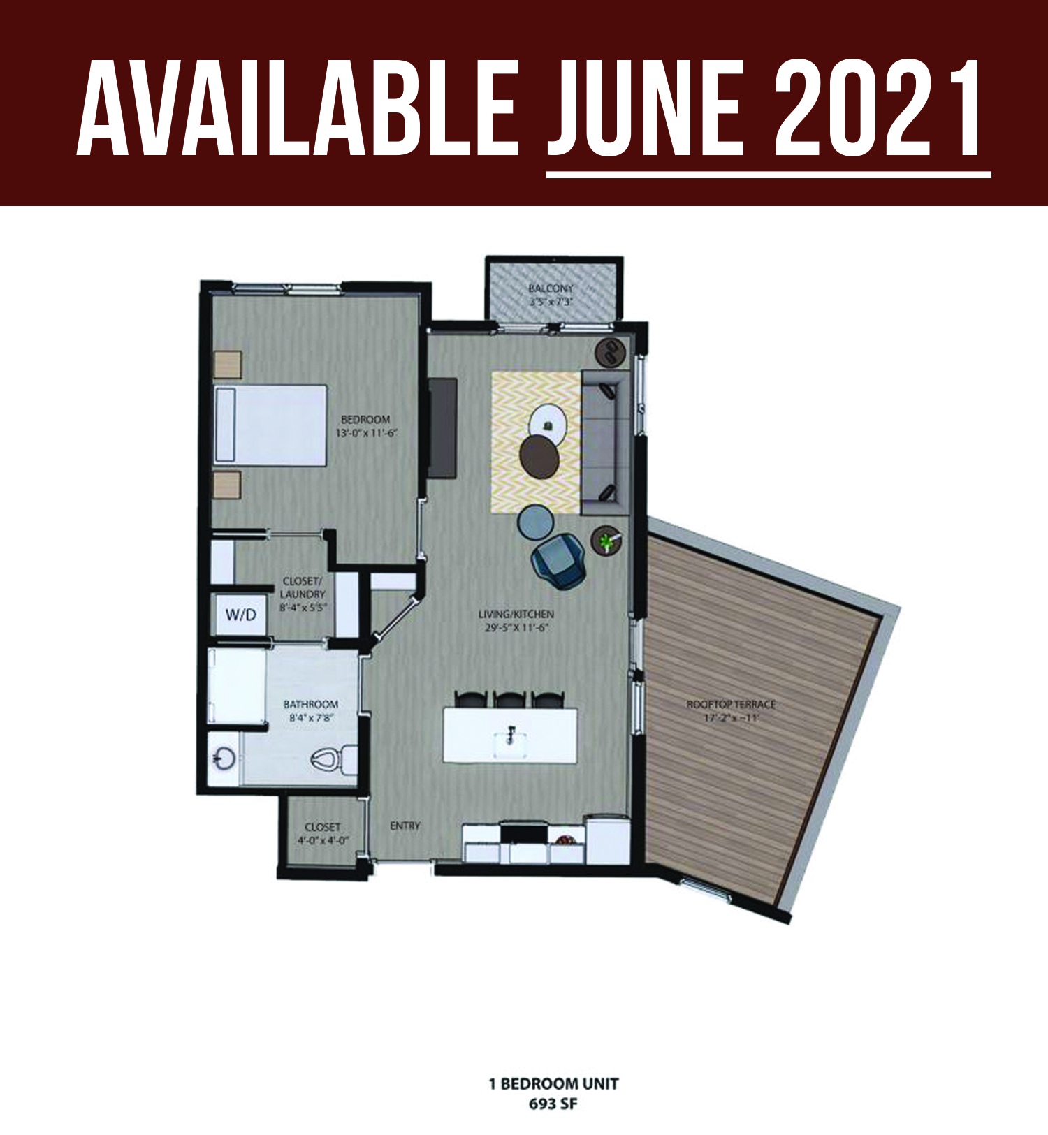 Floorplan - One Bedroom with Roof Deck (A) image