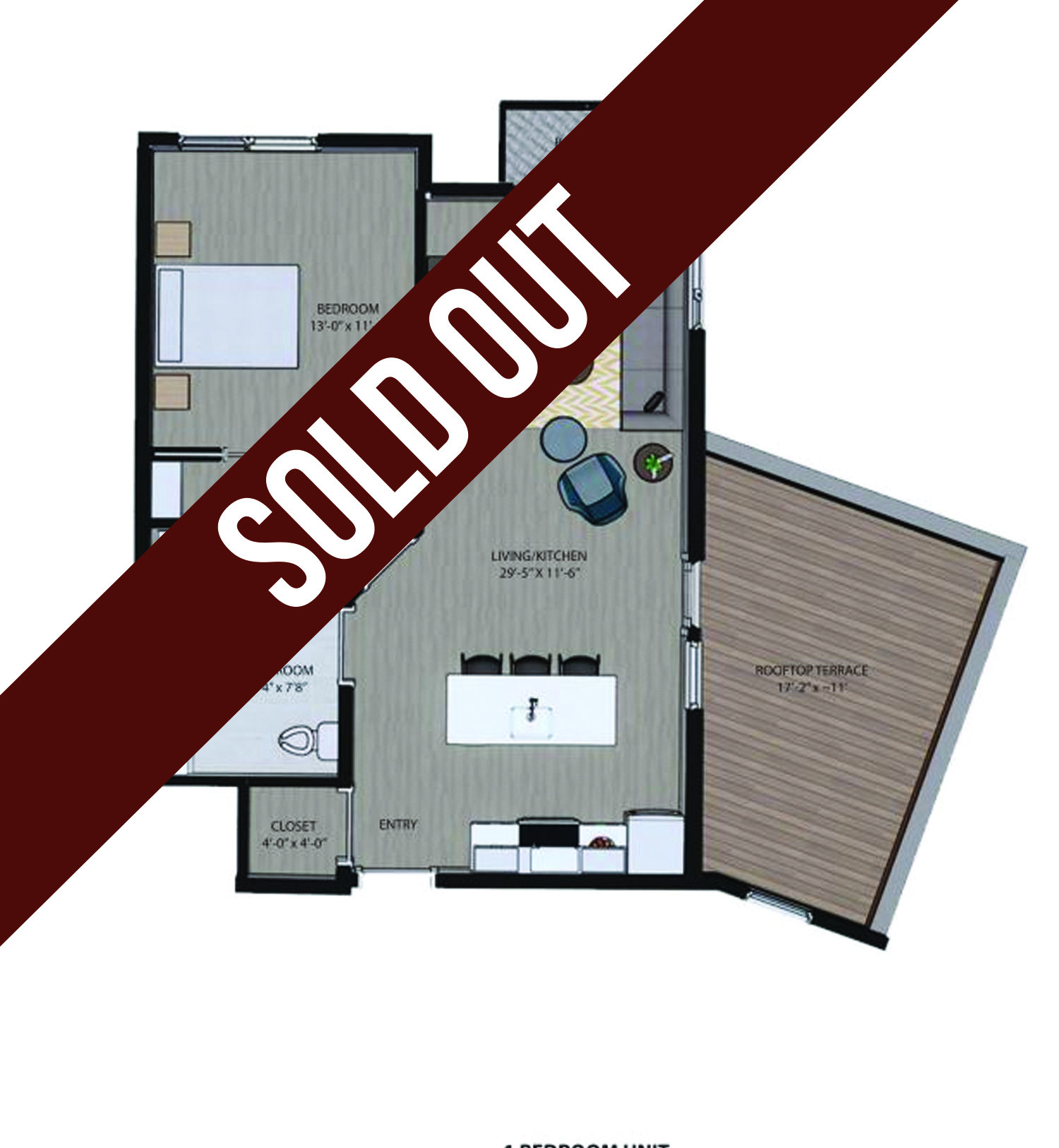 625 S. Goodman Apartments - Floorplan - One Bedroom with Roof Deck (A)