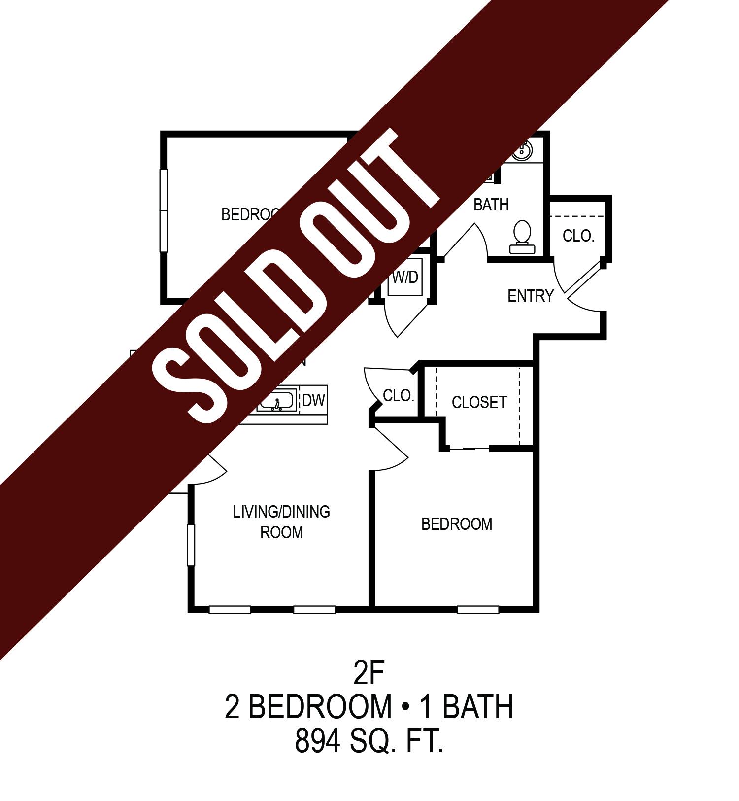 625 S. Goodman Apartments - Floorplan - Two Bedroom (F)
