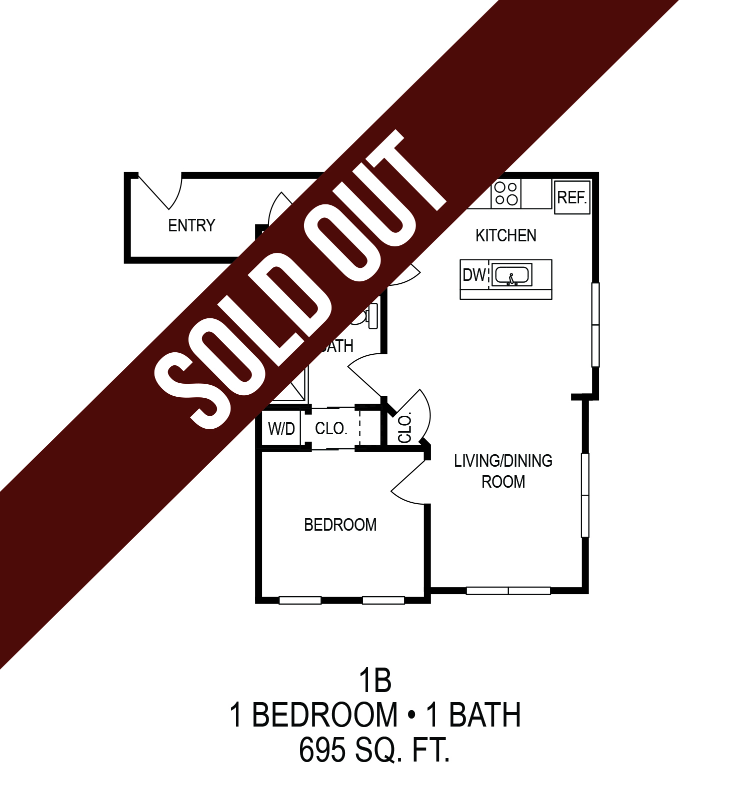 Floorplan - One Bedroom (B) image