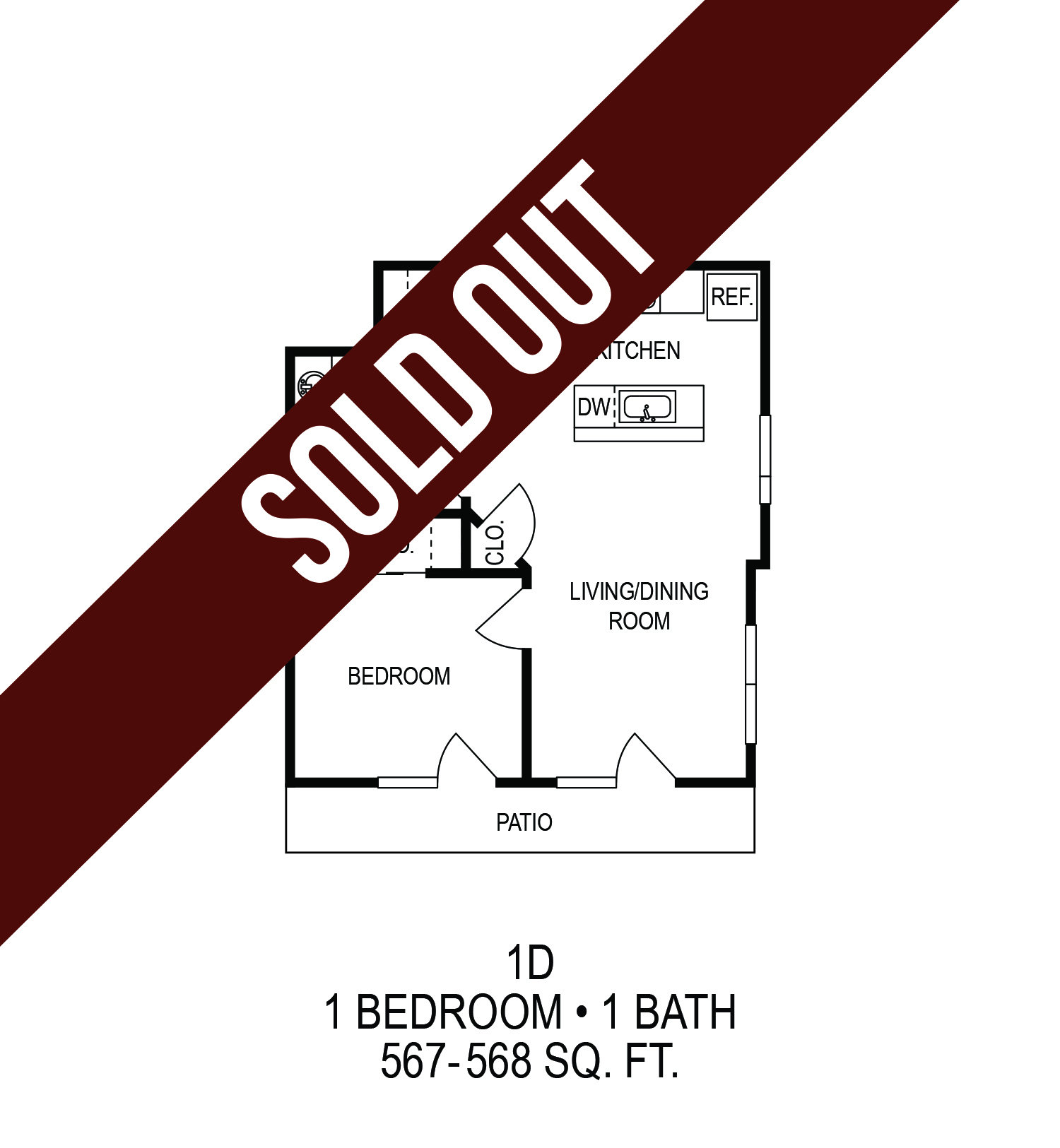Floorplan - One Bedroom with Sundeck (D) image