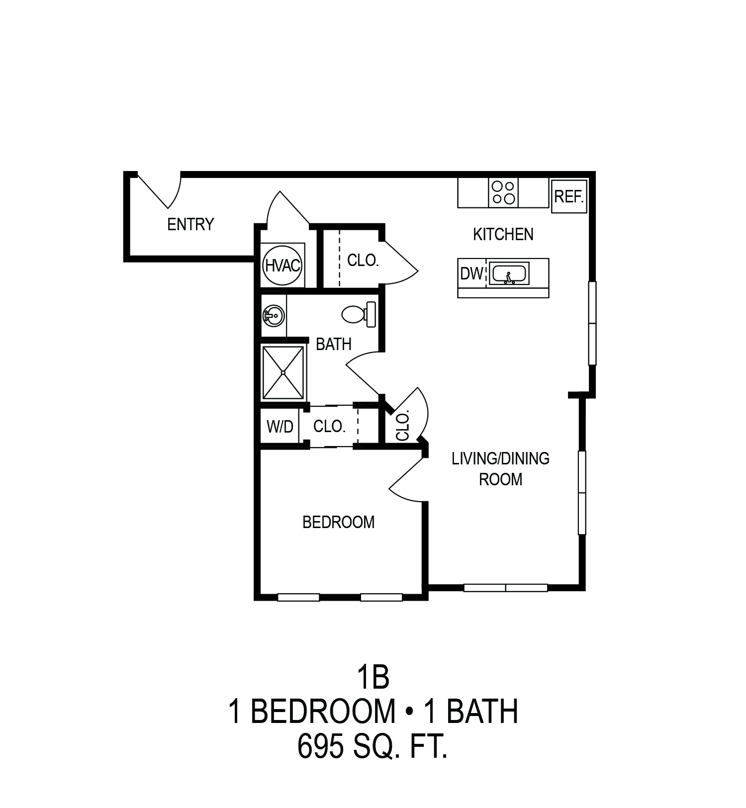 625 S. Goodman Apartments - Floorplan - One Bedroom (B)