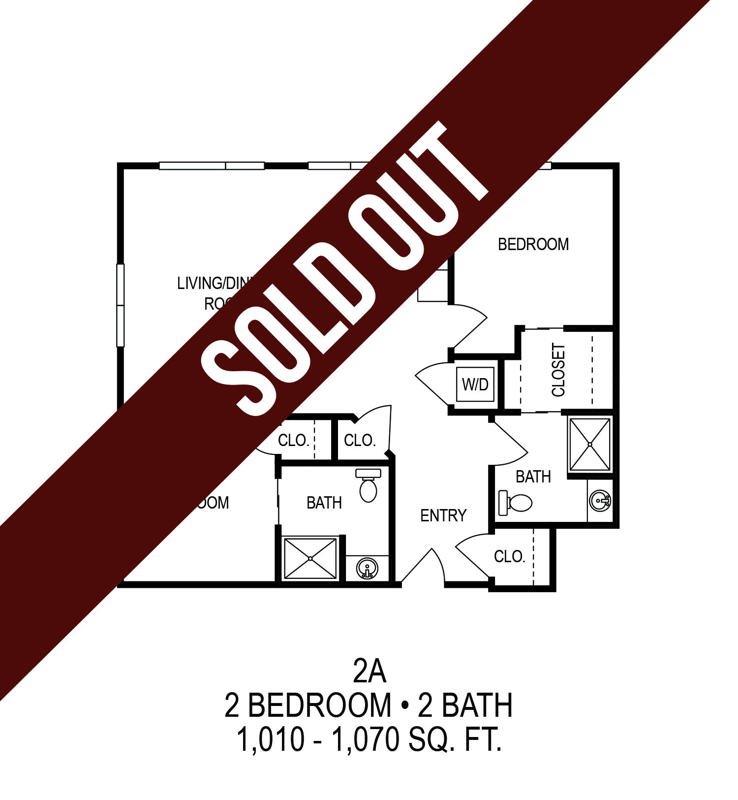 625 S. Goodman Apartments - Floorplan - Two Bedroom (A)*