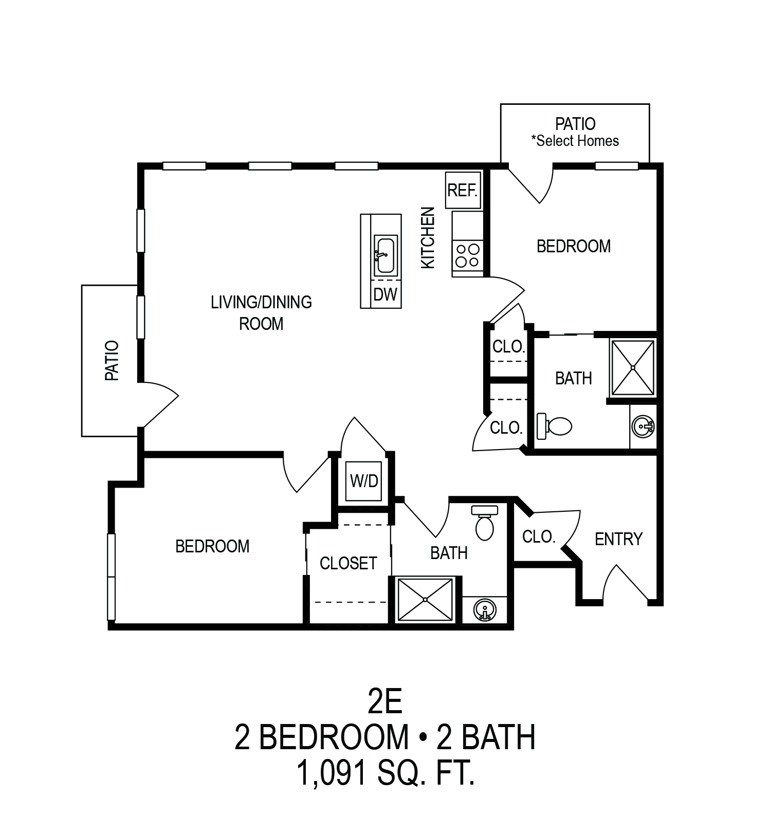 625 S. Goodman Apartments - Floorplan - Two Bedroom with Balcony (E)