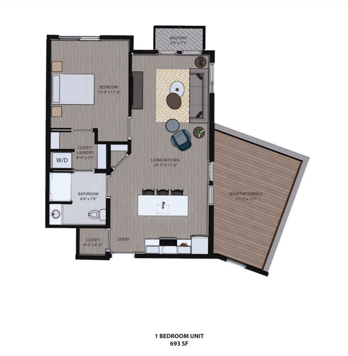 625 S. Goodman - Floorplan - 1 Bedroom Unit w/ Sun Deck