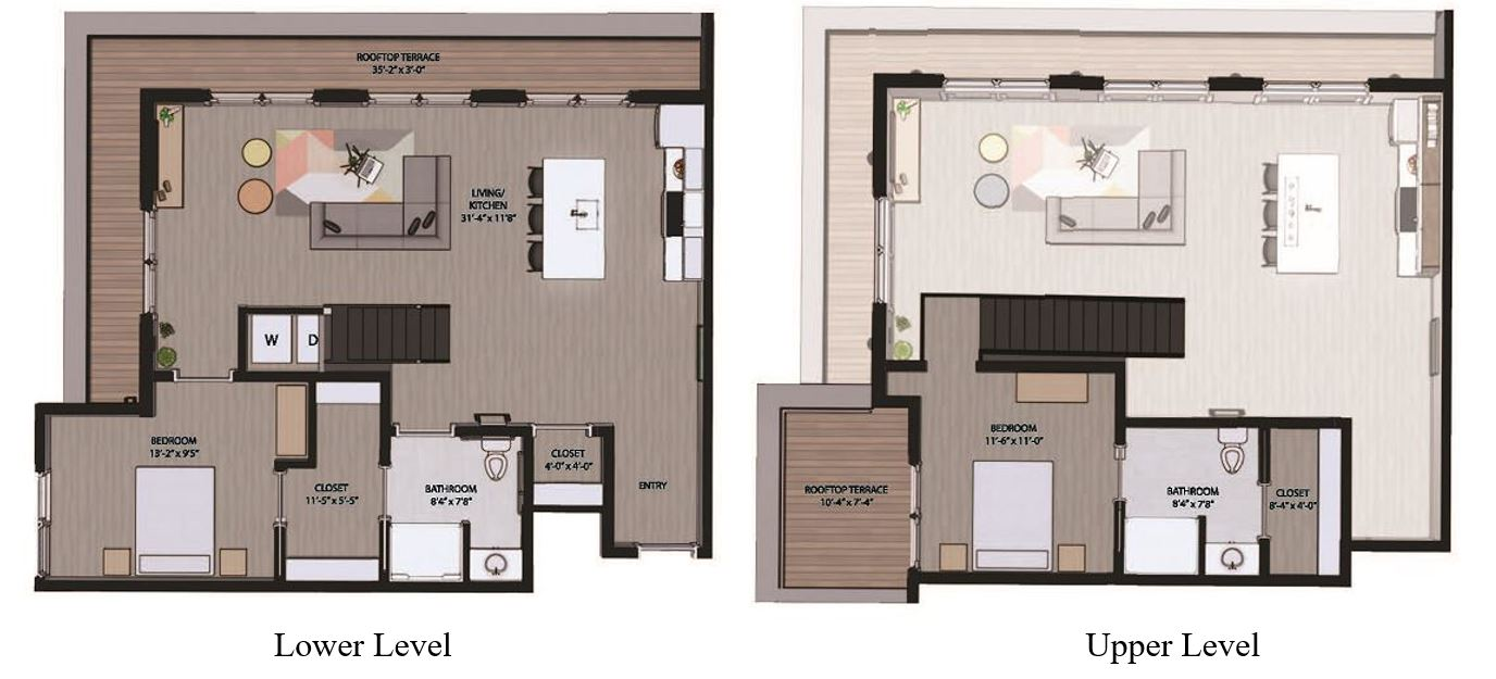 Floorplan - 2 Bedroom Loft with Terrace image
