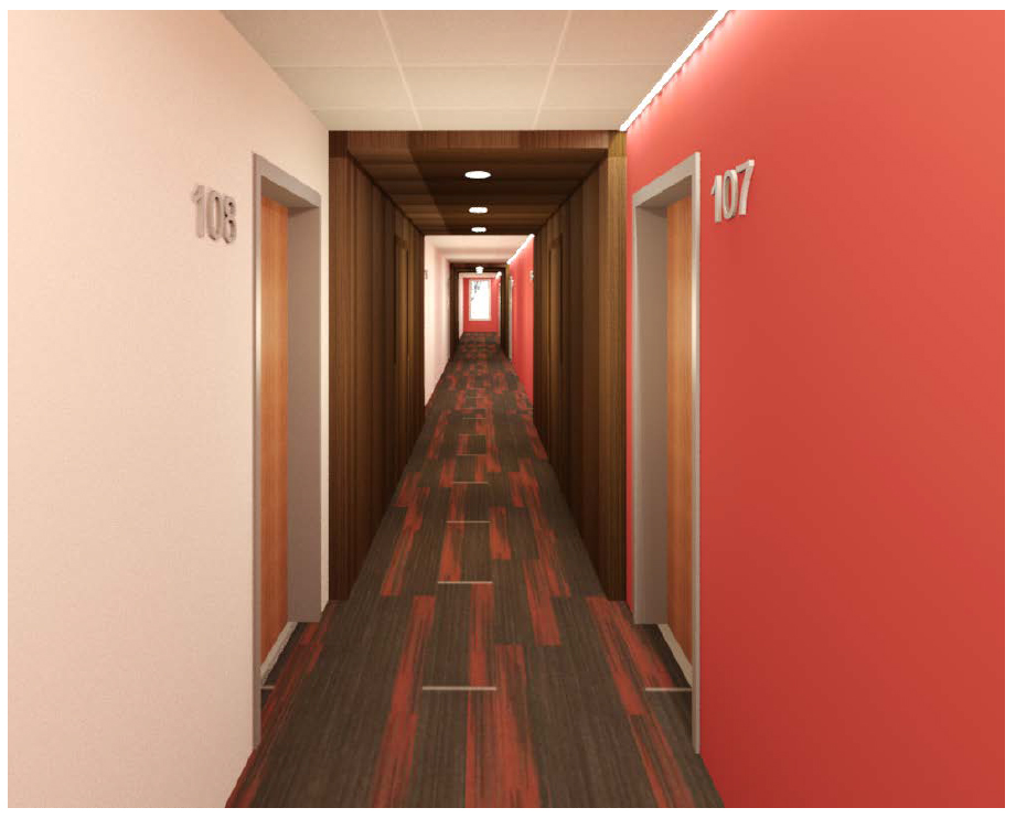 Hallway Leading to Apartment Homes at 625 S. Goodman Apartments in Rochester, New York