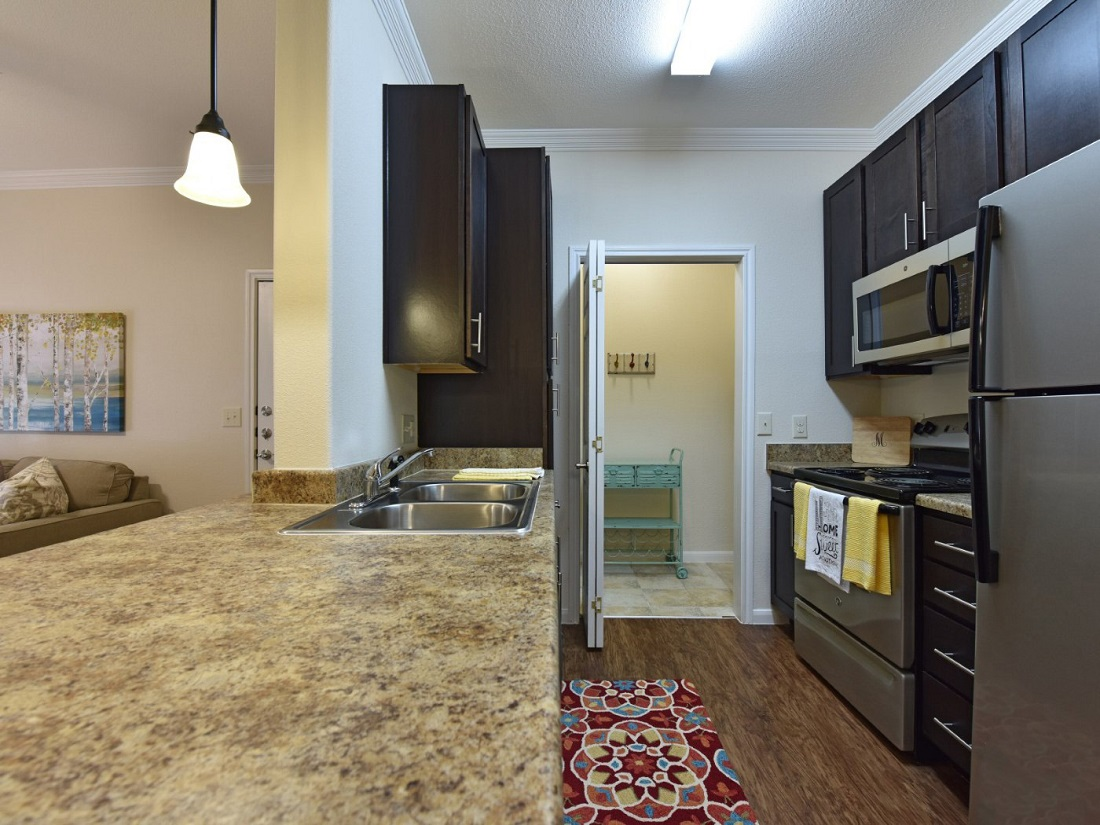 Modern Kitchen Area at the Aira at Rollingbrook Apartments in Baytown, TX