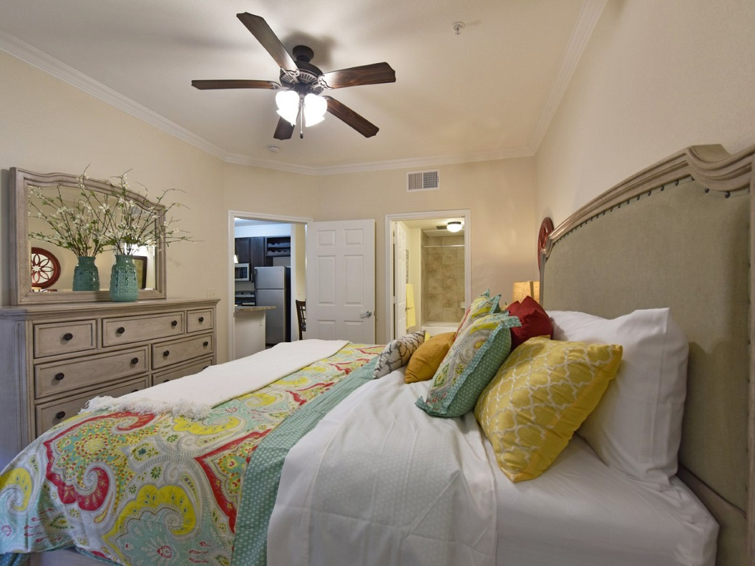 Interior of Bedroom at the Aira at Rollingbrook Apartments in Baytown, TX