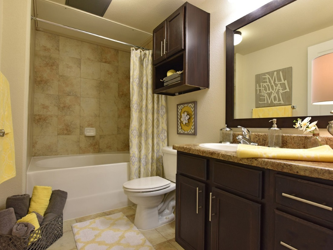 Modern Bathroom Design of the Aira at Rollingbrook Apartments in Baytown, TX