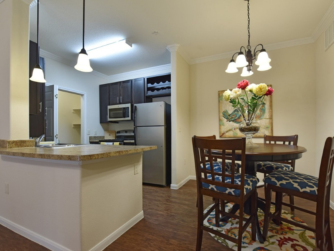 Dining and Counter Area of Aira at Rollingbrook Apartments in Baytown, TX