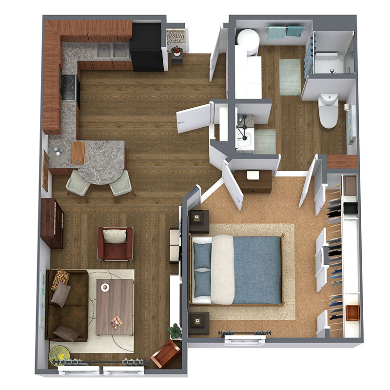 Floorplan - 1 Bed - A - Market image