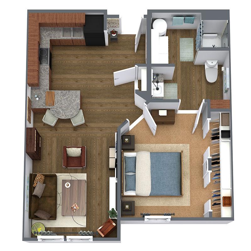 Floorplan - 1 Bed - A - Affordable image