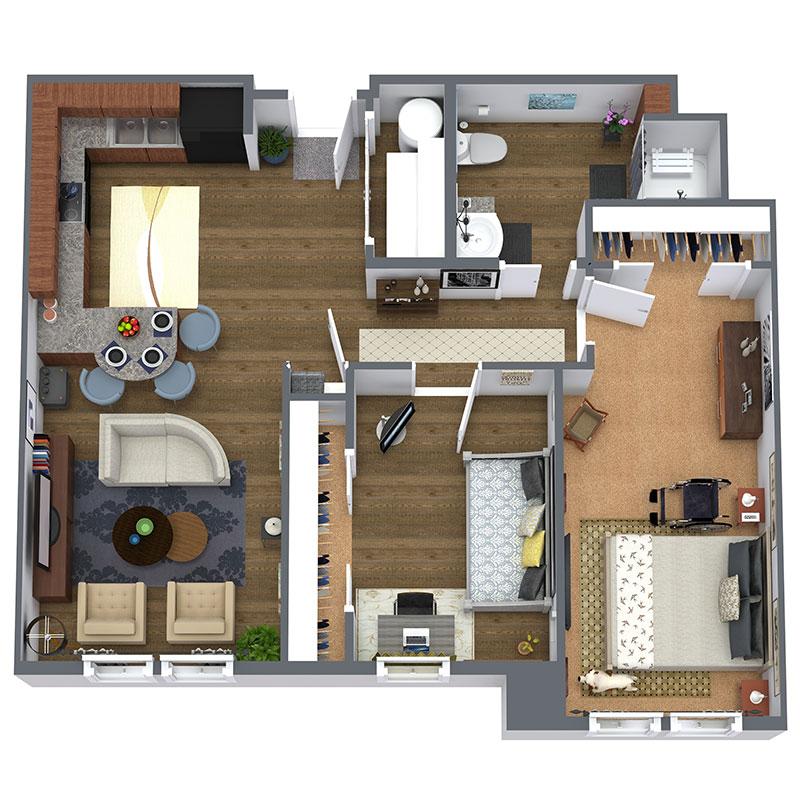 Floorplan - 2 Bed - Market image