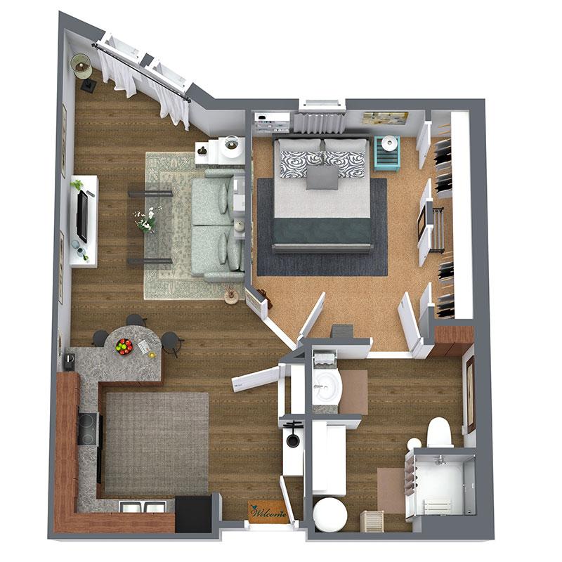Floorplan - 1 Bed - D - Affordable image