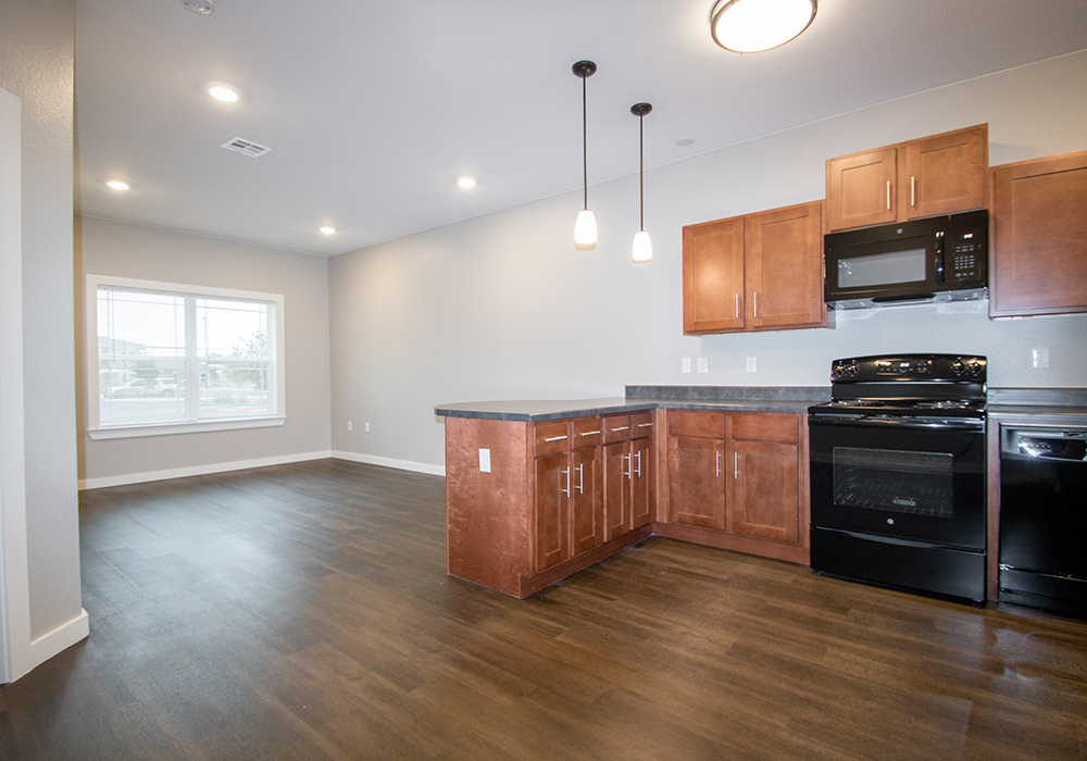 All Black Kitchen Appliances at The Residence at Alsbury Apartments in Burleson, Texas