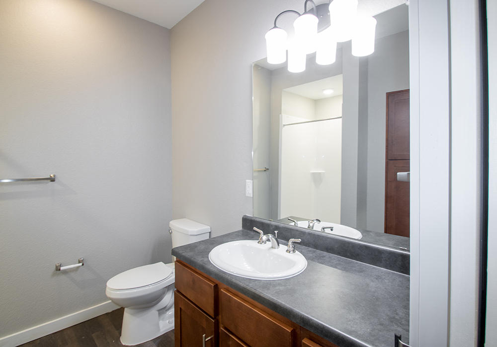 Bathroom Vanity with Pendant Lighting at The Residence at Alsbury Apartments in Burleson, Texas