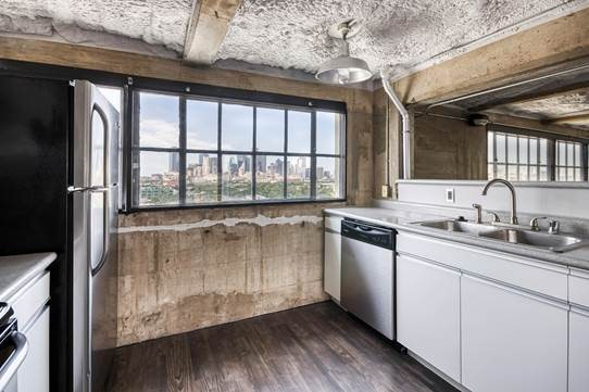 Kitchen at American Beauty Mill Apartments in Dallas, Texas