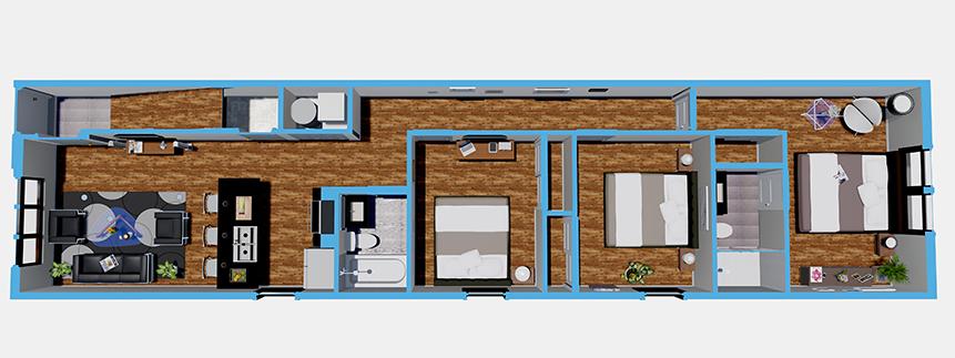 The Annex at Brewerytown - Floorplan - First Floor 3 Bedroom