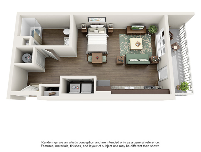Apex 5510 Apartments - Floorplan - Fern Canyon - Studio