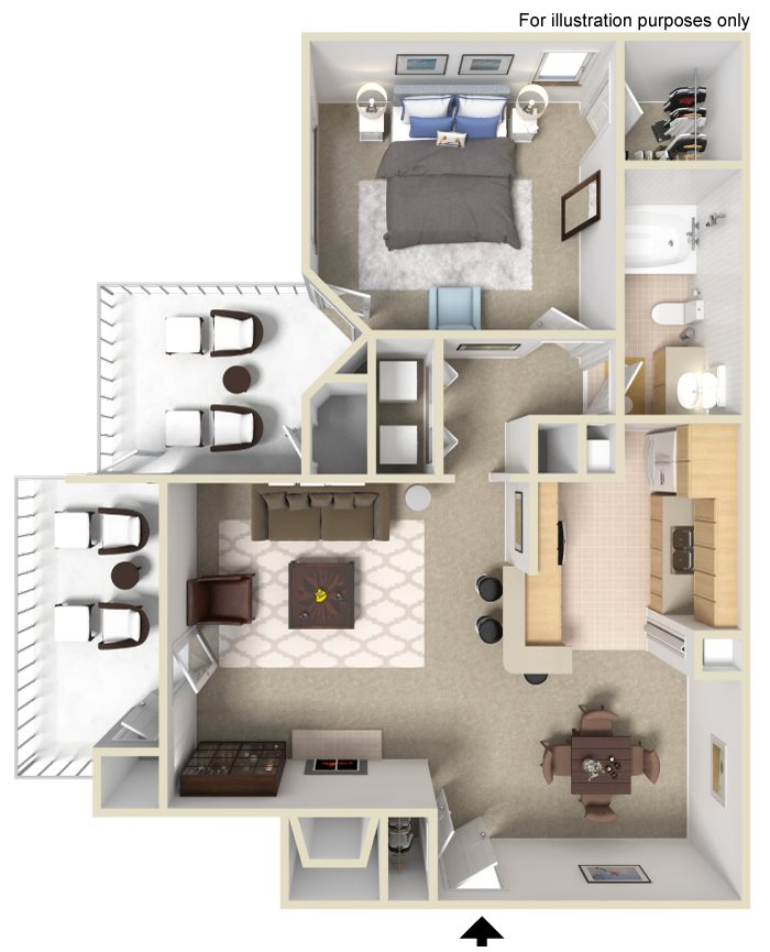 Appling Lakes Apartments  - Floorplan - 1X1 Large with Sunroom