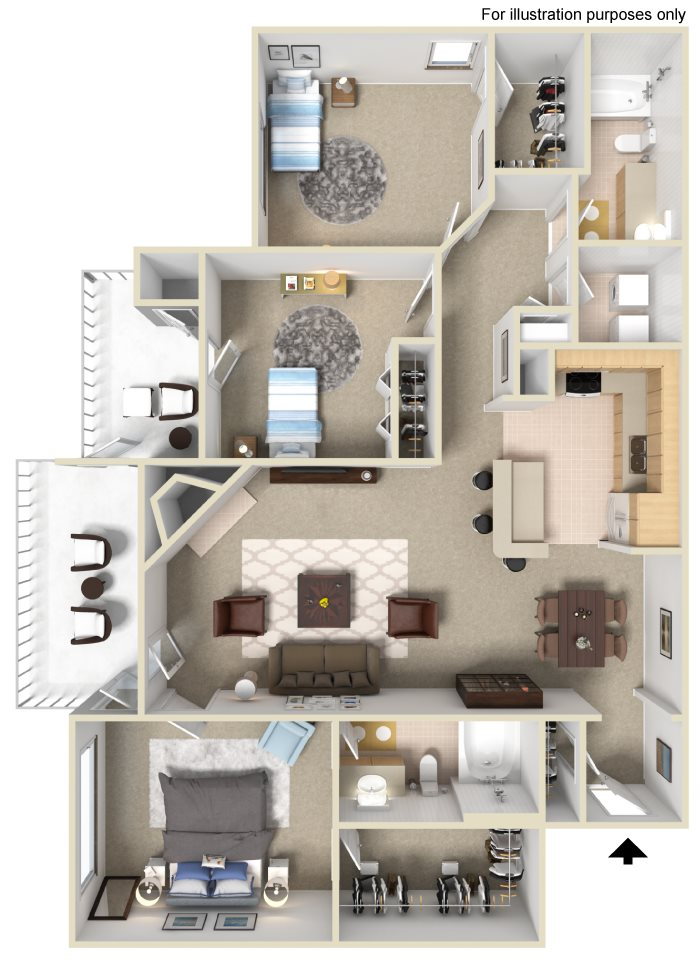 Appling Lakes Apartments  - Floorplan - 3X2 with Sunroom