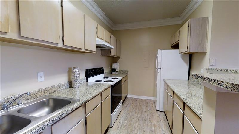 Ample Kitchen Counterspace at Appling Lakes Apartments in Cordova, Tennessee