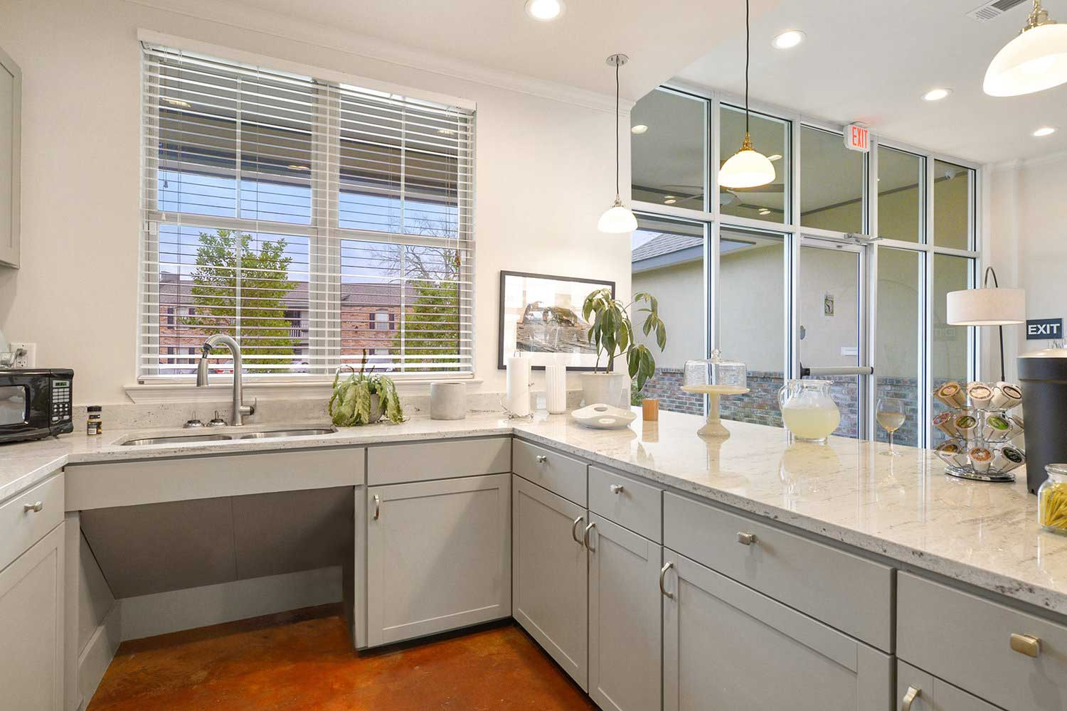 Spacious Demonstration Kitchen at Ardendale Oaks Apartments in Baton Rouge, Louisiana
