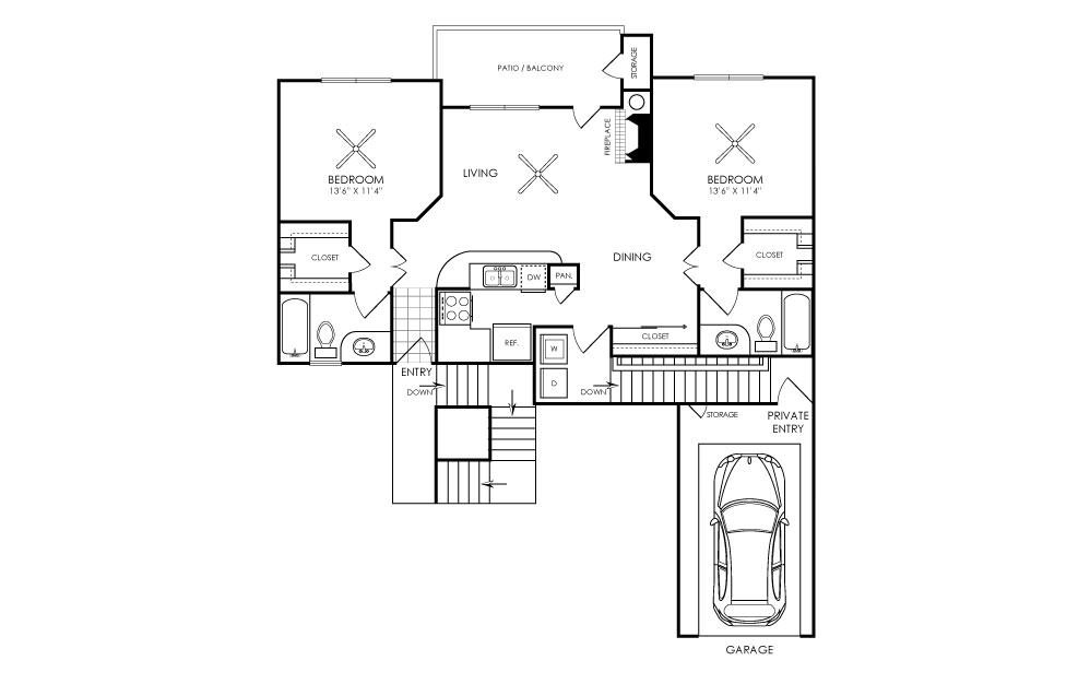 Ashford Apartments - Floorplan - B1