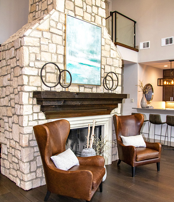 Clubhouse Fireplace at Ashford Apartments in Carrollton, Texas