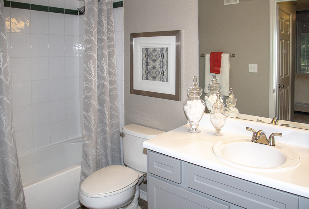 Bathroom at Ashford Apartments in Carrollton, Texas