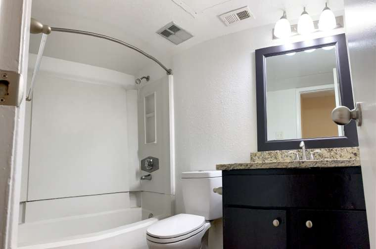 Tub and Shower Room at Ashford Pointe Apartments in Houston, Texas