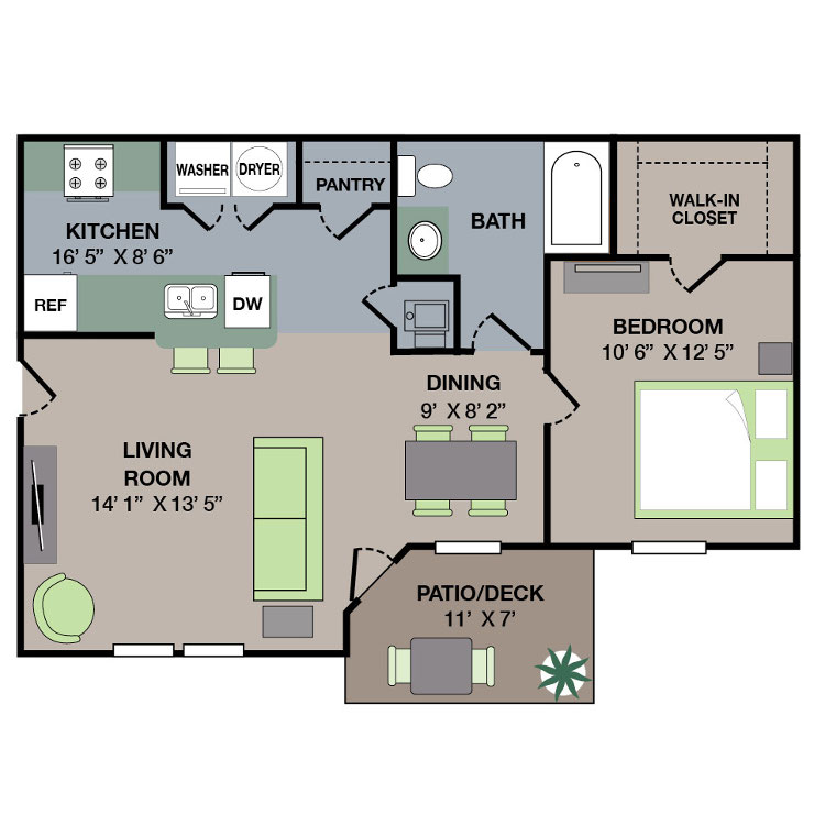 Floorplan - 1 Bed/1 Bath image
