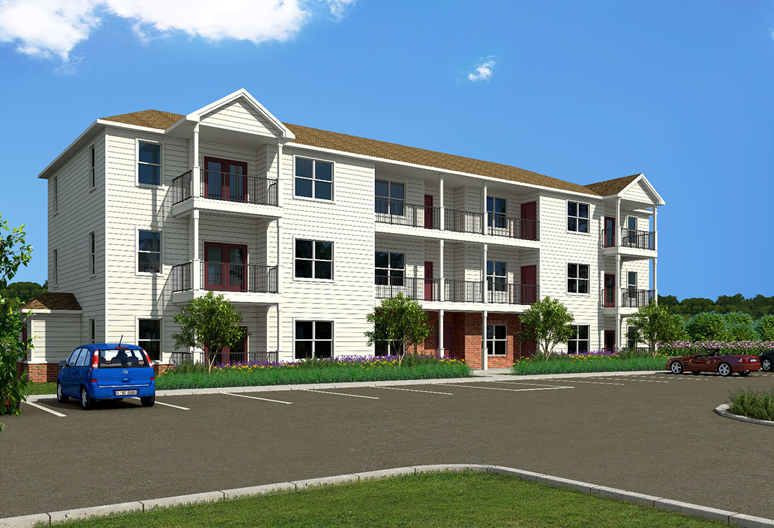 Apartment Building Rendering at Aspen Grove Apartments in Omaha, NE
