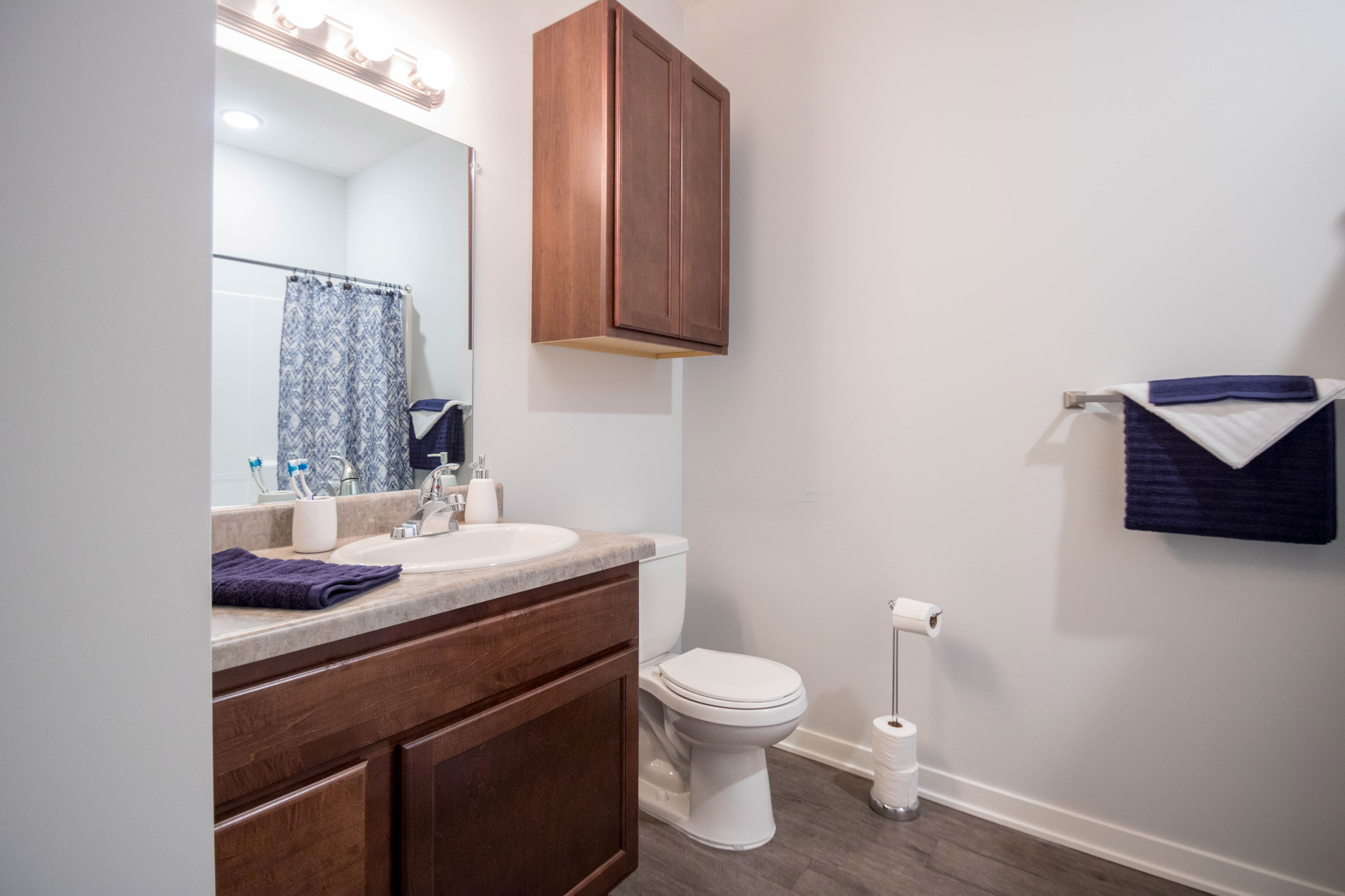 Wooden Cabinetry in Bathroom at Aspen Grove Apartments in Omaha, NE