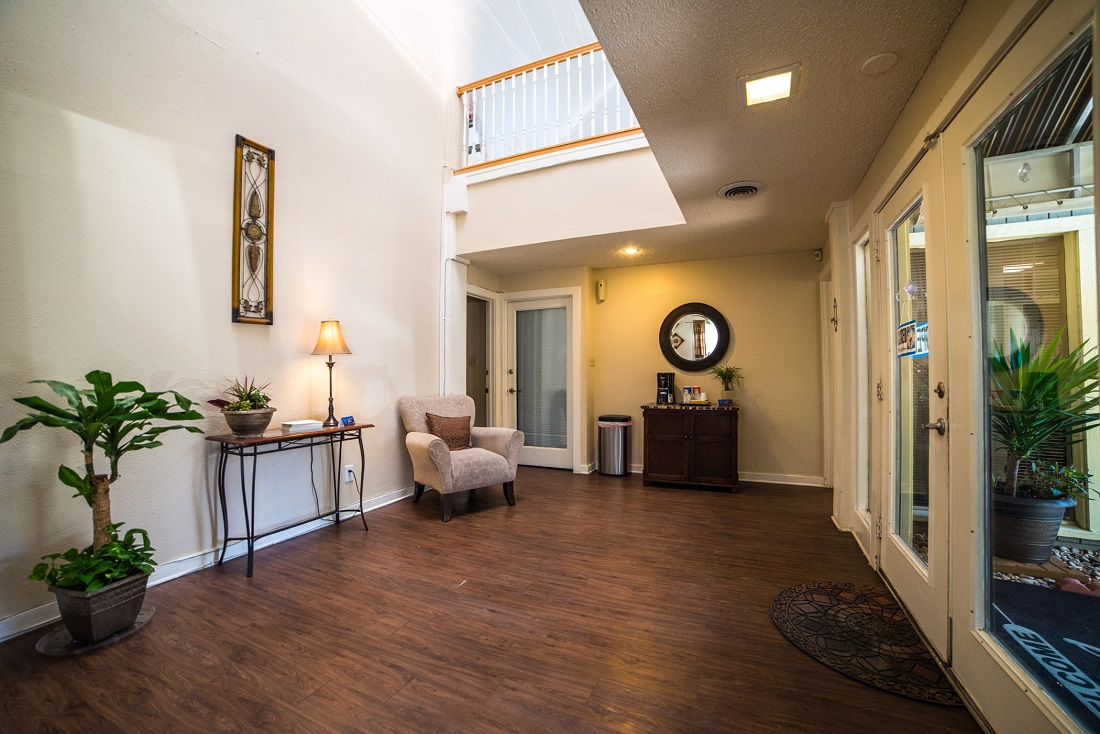 Resident Leasing Center with Complimentary Coffee Bar at Aubry Hills Apartments in Austin, TX