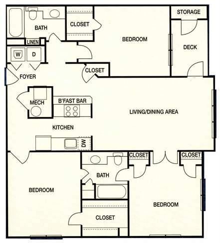 Augusta Commons Apartments - Floorplan - Plan C1