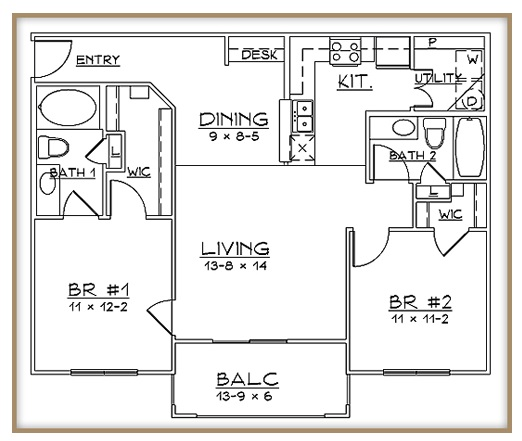 Aventine Apartments - Floorplan - Plan B1